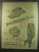 1949 Austin Reed Ad - The Surf Shirt; Flannel Trousers and Beach Trunks