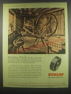 1949 Dunlop Tires Ad - art by Davey - Spinning Wheel