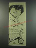 1949 Ovaltine Drink Ad - For all-night sleep and all-day energy