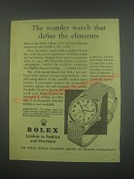 1949 Rolex Oyster wrist-watch Ad - The wonder watch that defies the elements