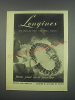 1949 Longines Watches Ad - Longines the world's most honoured watch