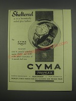 1949 Cyma Triplex Watch Ad - Sheltered as in a hermetically sealed glass balloon