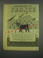 1949 French National Tourist Office Ad - Mountains of France