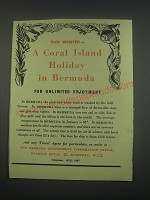 1949 Bermuda Tourism Ad - This winter - a coral island holiday in Bermuda