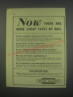 1949 British Railways Ad - Now there are more cheap fares by rail