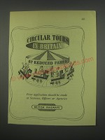 1949 British Railways Ad - Circular tours in Britain at reduced fares