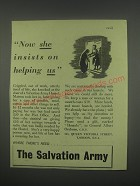1949 Salvation Army Ad - Now she insists on helping us