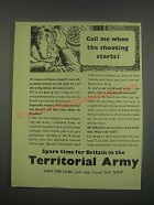 1949 Territorial Army Ad - Call me when the shooting starts