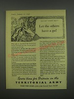 1949 Territorial Army Ad - Last war veteran says - let the others have a go