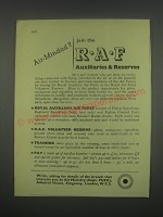 1949 R.A.F Auxiliaries & Reserves Ad - Air-Minded?