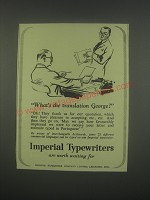 1949 imperial Typewriters Ad - What's the translation George?