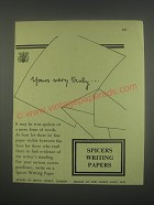 1949 Spicers Writing Papers Ad - Yours very truly