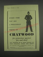 1949 Chatwood Safes Ad - Every time you see a policeman
