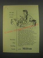 1949 Milton Antiseptic Ad - Be safe, be sure.. Always sterilize that bottle