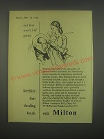 1949 Milton Antiseptic Ad - But love won't kill germs sterilize that bottle