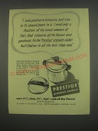 1949 Prestige Pressure Cookers Ad - I cook potatoes in 8 minutes