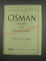 1949 Osman Sheets and Pillowcases Ad - invite you to sleep