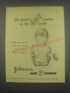 1949 Johnson's Baby Powder Ad - The kindest powder