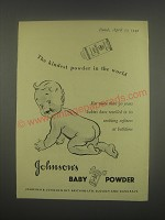 1949 Johnson's Baby Powder Ad - The kindest powder in the world