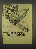 1949 Remington Electric Dry Shaver Ad - improved diamond-honed blue-streak head