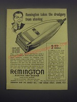 1949 Remington Electric Dry Shaver Ad -  takes the drudgery from shaving