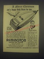 1949 Remington Electric Dry Shaver Ad - A Merry Christmas and a happy shave