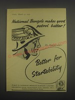 1949 National Benzole Petrol Ad - Makes good petrol better