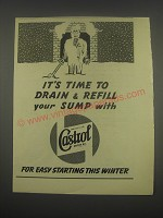 1949 Castrol Motor Oil Ad - It's time to drain & refill your sump with Castrol