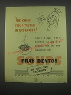 1949 Oxo Fray Bentos Soups Ad - The chief soup-taster in ecstasies
