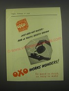 1949 Oxo Cube Ad - Just add hot water - for a tasty, beefy drink