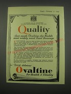 1949 Ovaltine Drink Ad - Quality has made Ovaltine the World's most widely used