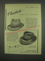 1949 Simpson Country Thatch Hats Ad - Thatch Town or Country