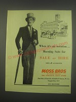 1949 Moss Bros Morning Suits Ad - When it's an occasion.. Morning Suits