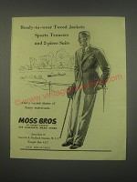 1949 Moss Bros Ad - Tweed Jackets, Sports Trousers and 2-piece suits