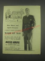 1949 Moss Bros Blue Blazer and Sports Trousers Ad - Walker Cup Team