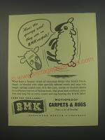 1949 BMK Carpets & Rugs Ad - Mine's the springy wool they use in BMK carpets