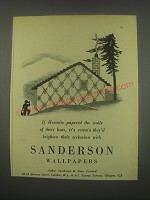 1949 Sanderson Wallpapers Ad - If hermits papered the walls of their huts