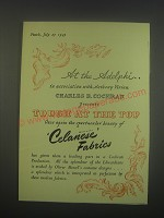 1949 Celanese Fabrics Ad - At the Adelphi.. In association with Anthony Vivian