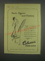 1949 Celanese Crepe Satin Ad - Facts, Figures and Flattery