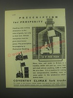 1949 Coventry Climax Fork Trucks Ad - Prescription for prosperity