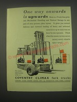 1949 Coventry Climax Fork Trucks Ad - One way onwards is upwards