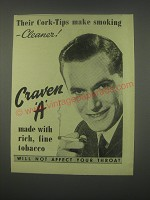 1949 Craven A Cigarettes Ad - Their cork-tips make smoking - cleaner!