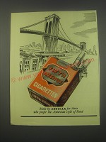 1949 Abdulla Fifth Avenue Cigarettes Ad - Brooklyn Bridge