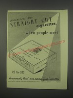1949 Lambert & Butler's Straight Cut Cigarettes Ad - When people meet