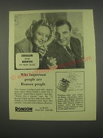 1949 Ronson Cigarette Lighters Ad - Anne Ziegler and Webster Booth