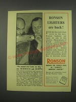 1949 Ronson Cigarette Lighters Ad - Richard Murdoch and Kenneth Horne