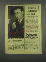 1949 Ronson Cigarette Lighters Ad - Stewart MacPherson says, Right every time!
