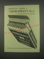 1949 Churchman's No. 1 Cigarettes Ad - Cheer up!