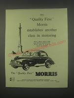 1949 Morris Minor Saloon Car Ad - The Quality First Morris establishes another