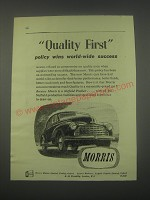 1949 Morris Cars Ad - Quality First policy wins world-wide success
